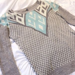 Ecoté Urban Outfitters Blue and White Sweater